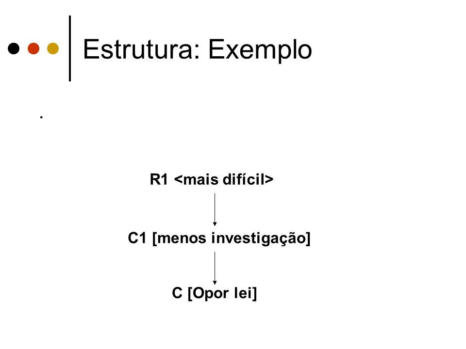 Estrutura: Exemplo . R1 <mais difícil> C1 [menos investigação]